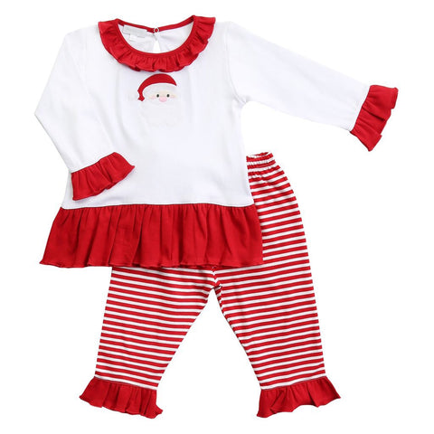 Santa Applique Ruffle 2pc Pant Set Toddler - Magnolia Baby Fall 2019 5505