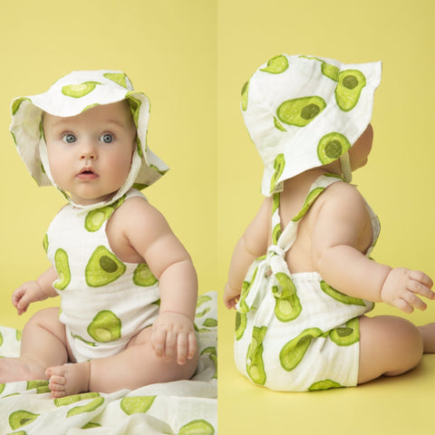 Avocado Muslin Retro Sunsuit - Angel Dear 774