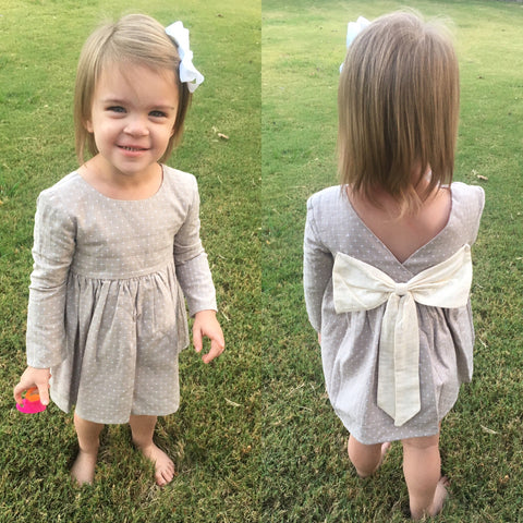 Secret Garden Grey Bow Dress - Mabel & Honey K107 Spring 2020