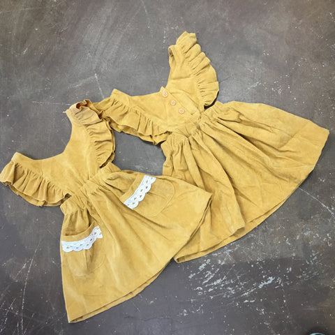 Caroline Angel Sleeve Dress in Mustard - Emma Jean Fall 2019  1032