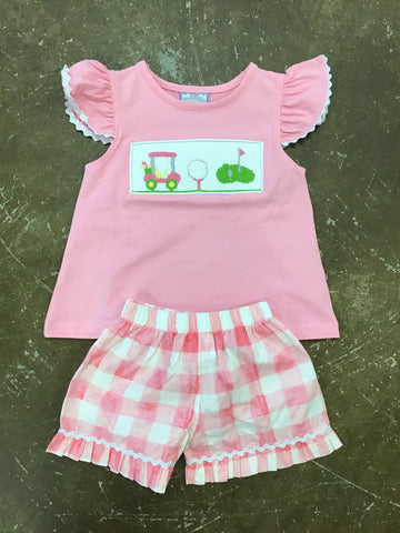 Girls Hole in One Smocked Shorts Set Three Sisters 734 Spring 2019