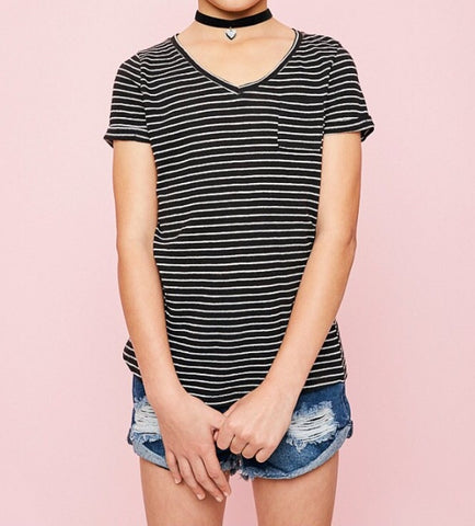 Black V-Neck Stripe Tee G3085 - Hayden Los Angeles