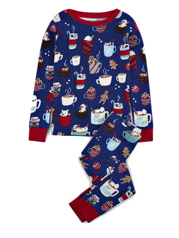 Holiday Cocoa Kids Blue PJ Set - Little Blue House By: Hatley