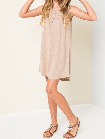 Sleeveless Shirt Dress in Latte G3554 - Hayden Los Angeles
