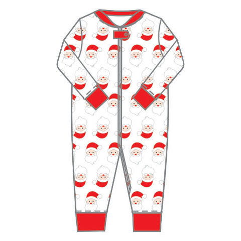 Santa Print Footless Zipped PJ's - Magnolia Baby Fall 2019  587-ZP