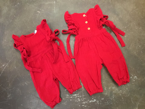 Molly Romper w/ Ties in Red - Emma Jean Fall 2019  1077