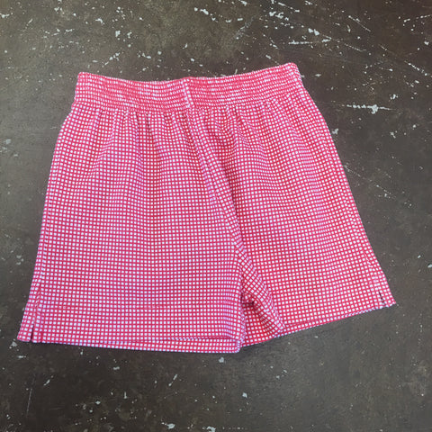 Red Gingham Print Shorts - Baby Luigi   216