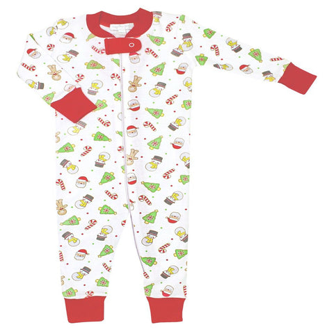 Cookies for Santa Zipped Pajamas w/ Red - Magnolia Baby Fall 2019