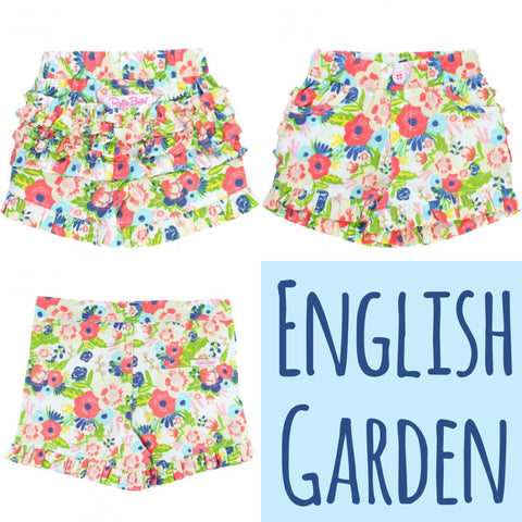 English Garden Ruffle Shorts - RuffleButts Spring 2018