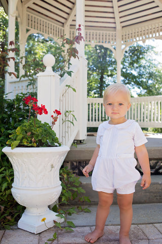 Boys Pleated Romper in White Linen - Evie's Closet 100