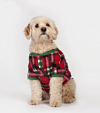 Holiday Moose on Plaid Dog Pajama - Little Blue House By: Hatley