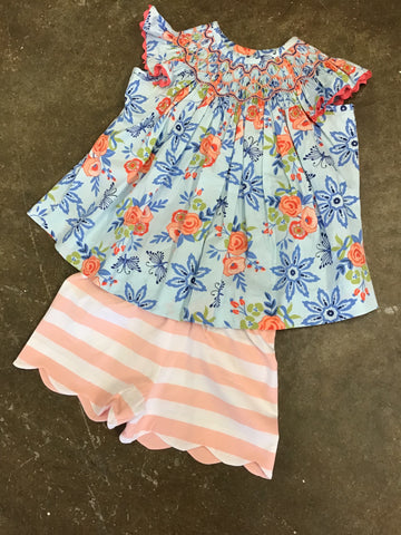 Girls Bliss Bouquet Smocked Bishop Shorts Set Three Sisters 842 Spring 2019