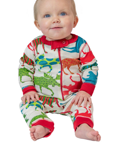 Patterned Moose Unionsuit - Lazy One