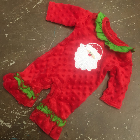Santa Applique Minky Romper - Three Sisters Fall 2019 5431