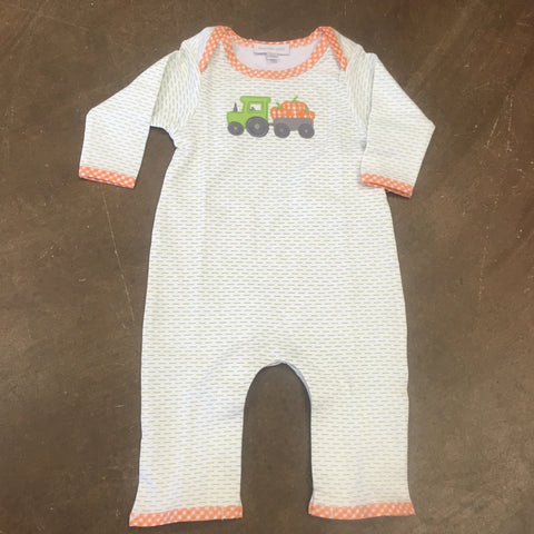 Pumpkin Tractor Applique Playsuit in Celery - Magnolia Baby Fall 2019