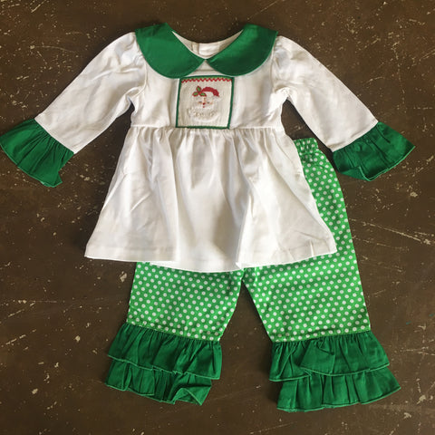 Santa Smocked Girl 2pc Set  - Mom & Me  10268