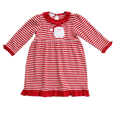 Santa Applique Long Sleeve Toddler Dress - Magnolia Baby Fall 2019 5499