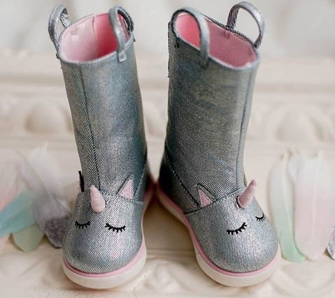 Unicorn Silver Metallic Denim Boots - Trimfoot Baby Deer