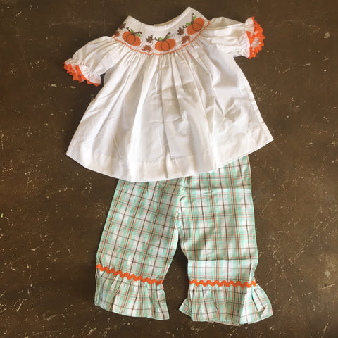 Harvest Time Smocked Bishop Top/Ruffle Pants Set for Girls - Banana Split Fall 2018 243