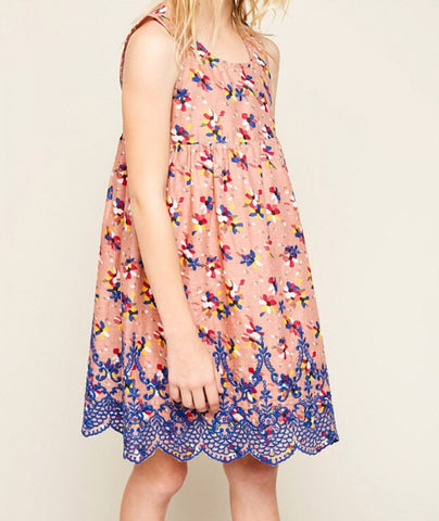 Floral Print Baby Doll Dress With Eyelet Lace Trim G4146  - Hayden Los Angeles