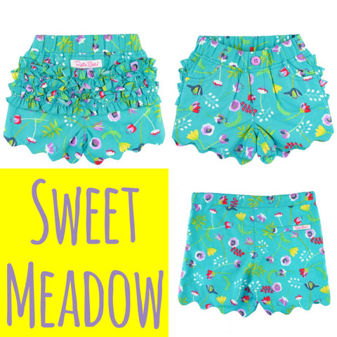 Sweet Meadow Scallop Shorts - RuffleButts Spring 2018