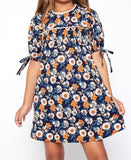 Floral Dress w/ Sleeve Ties Indigo G3920 - Hayden Los Angeles