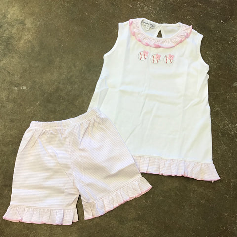 Love Baseball Embroidered Girl Ruffle Short Set - Magnolia Baby 5101