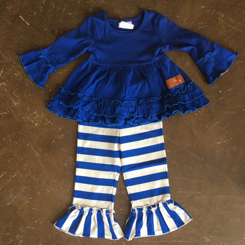 Royal Blue & White Monogrammable Ruffle Pant Set for Girls - Millie Jay Fall 2018 699