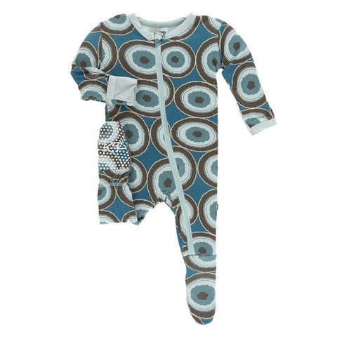 Heritage Blue Agate Slices Snap Footie Kickee Pants