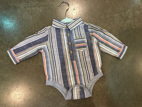 Multi Stripe Woven Onesie - Me + Henry Fall 2019  343L