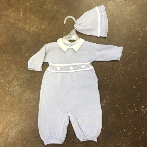 Boys Blue Knit Long Sleeve Romper Set - Baby's Trousseau Classic Collection A1215