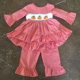 Pumpkin Smocked Ruffle Pant Set Girl - Mom & Me  - 10171