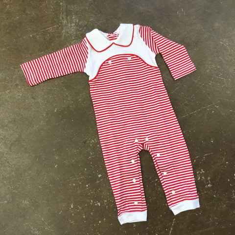 Red & White Striped Coverall w/ Collar - Squiggles by: Charlie Fall 2019 5460