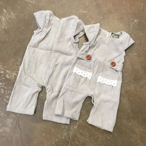 Morgan Romper w/ Lace in Grey - Emma Jean Fall 2019  1073