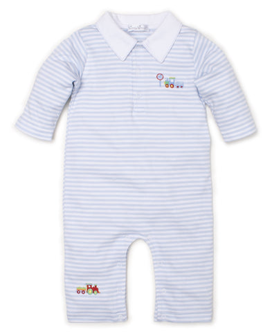 All Aboard Trains Striped Playsuit - Kissy Kissy Spring 2020