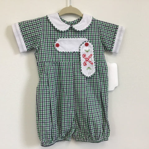 Green/Navy Plaid Candy Cane Boy Romper - Remember Nguyen Fall 2019 629br19