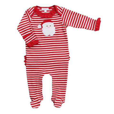 Santa Applique Ruffle Footie - Magnolia Baby Fall 2019 5502