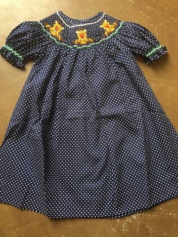 Mom & Me Navy Polka Dot Reindeer Bishop Dress