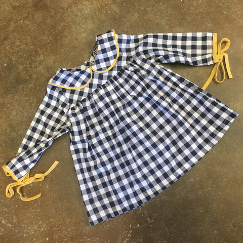 Macy Dress w/ Ties on Sleeves Blue Gingham - Emma Jean Fall 2019  1004