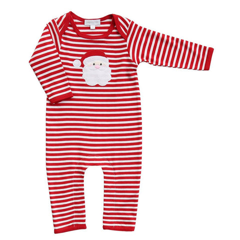 Santa Applique Playsuit in Red Stripe - Magnolia Baby Fall 2019 5497