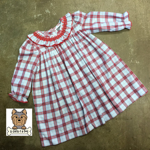 Geo Ruffle Neck Plaid Toddler Dress - By True Fall 2019  6107