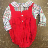 Red Corduroy Bubble w/ Red Gingham Long Sleeve Shirt - Banana Split Fall 2019 5425