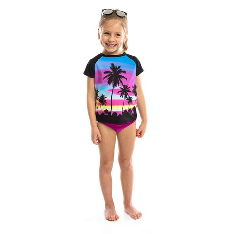 2pc Rashguard Swimsuit w/ Palm Tree & Sunset - Nano  242