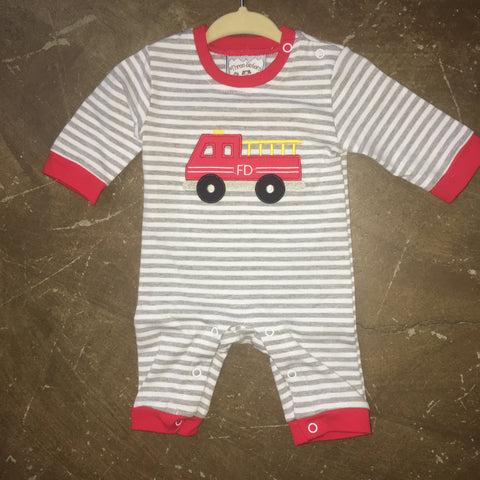 Firetruck Applique Boys Knit Romper Three Sisters 203 - Fall 2018