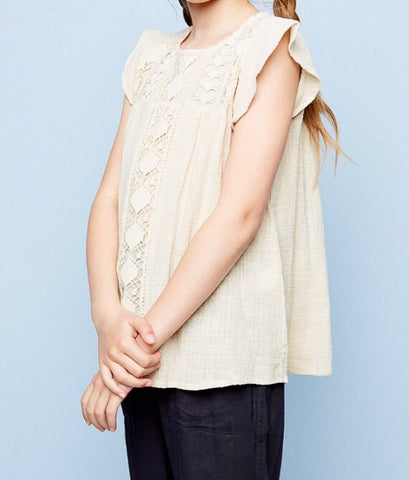Crochet Knit Top Cream G3577 - Hayden Los Angeles