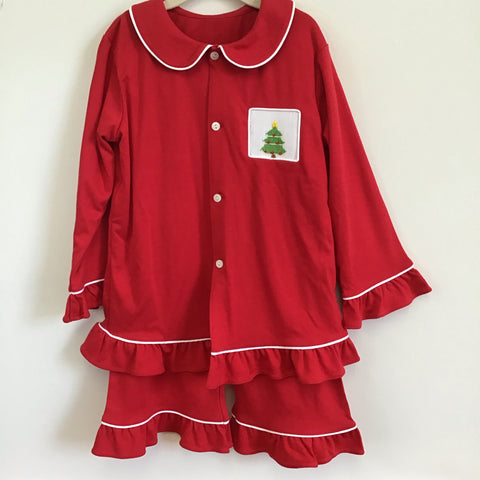 Girls Smocked Pajama Set in Red - Remember Nguyen Fall 2019 rnpj-g
