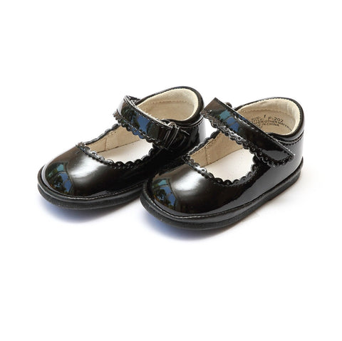 Scalloped Leather Mary Jane in Patent Black - Angel Baby Shoe F202 Cara