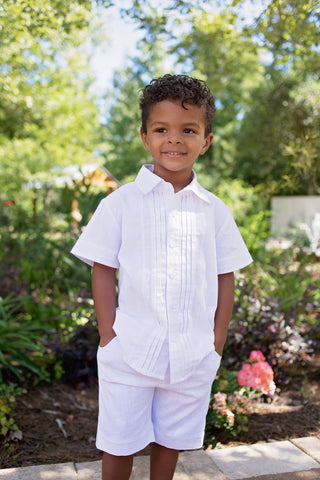 Boys Pintuck Linen Shirt in White - Evie's Closet 101