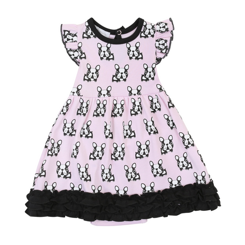 French Bulldogs Print Ruffle Dress Infant- Magnolia Baby 609P Spring 2020