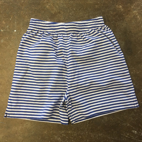 Royal Blue / White Stripe Jersey Shorts - Baby Luigi   252